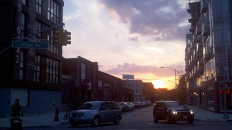 Dusk at Union Ave and Ainslie Street